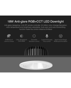 MiBoxer FUT072 MiLight 18W anti-glare RGB+CCT LED ceiling downlight